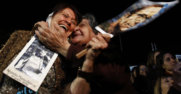 Member of Madres de Plaza de Mayo Almeyda and a friend react after hearing trial verdict in Buenos Aires