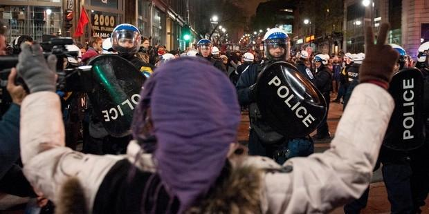 A repressive law passed amid massive protests in Quebec poses a threat to basic freedoms. © ROGERIO BARBOSA/AFP/GettyImages