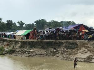 バングラデシュとミャンマーの国境にあるロヒンギャのキャンプ