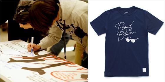 左:バナーに寄せ書きをする来場者 右:来日記念Tシャツ