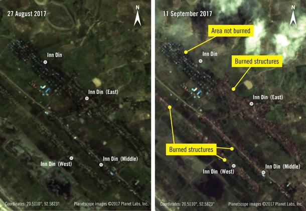インディン村でロヒンギャ集落だけが焼き討ちに遭ったことを示す衛星写真 ©2017 Planet Labs, Inc.