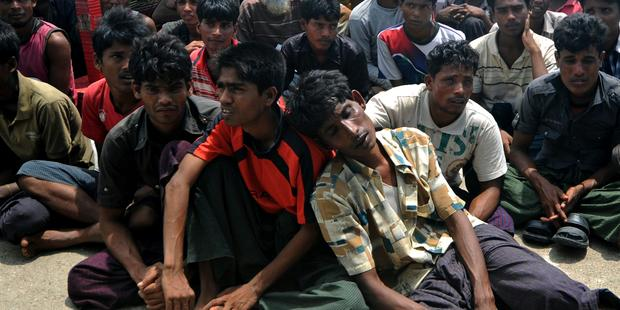 Thousands of Rohingya Muslims have been displaced by the violence in Rakhine state(C) AFP/Getty Images
