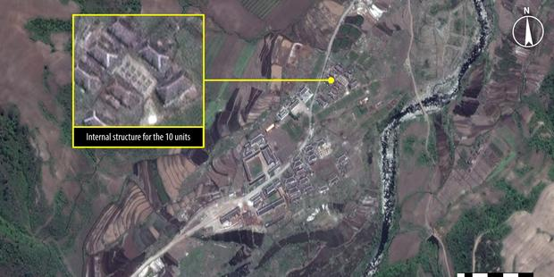 A satellite image from Kwanliso 16, the largest political prison camp in North Korea. (C) Analysis secured by Amnesty International (C) DigitalGlobe 2013