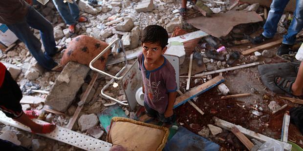 攻撃を受けたガザ地区北部ジャバリヤにある国連学校(C)EPA/MOHAMMED SABER