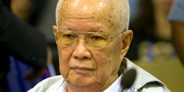 キュー・サムファン(写真:83歳)は、ヌオン・チア(88歳)とともに終身刑に処された。(C)EPA