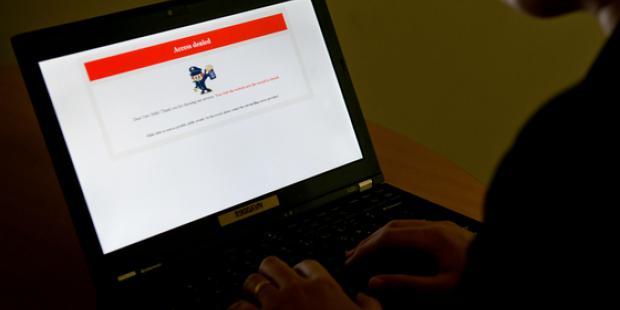 ウェブサイトに現われたアクセス拒否のメッセージ(北京)(C)STF/AFP/Getty Images