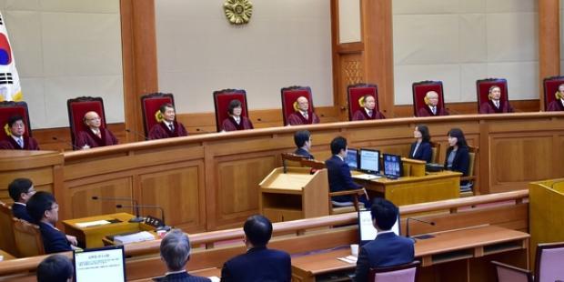 韓国憲法裁判所は12月19日、統合進歩党を解党する決定を下した。(C)Jung Yeon-Je/Getty/AFP
