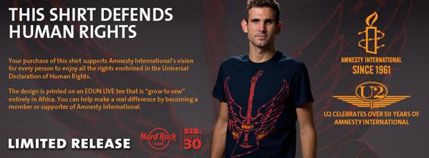 ハードロックカフェが発売する、U2の限定チャリティTシャツ
