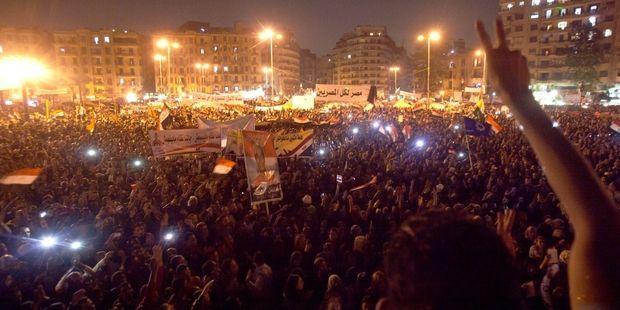 タハリール広場の抗議者たち(C)Matic Zorman / Demotix
