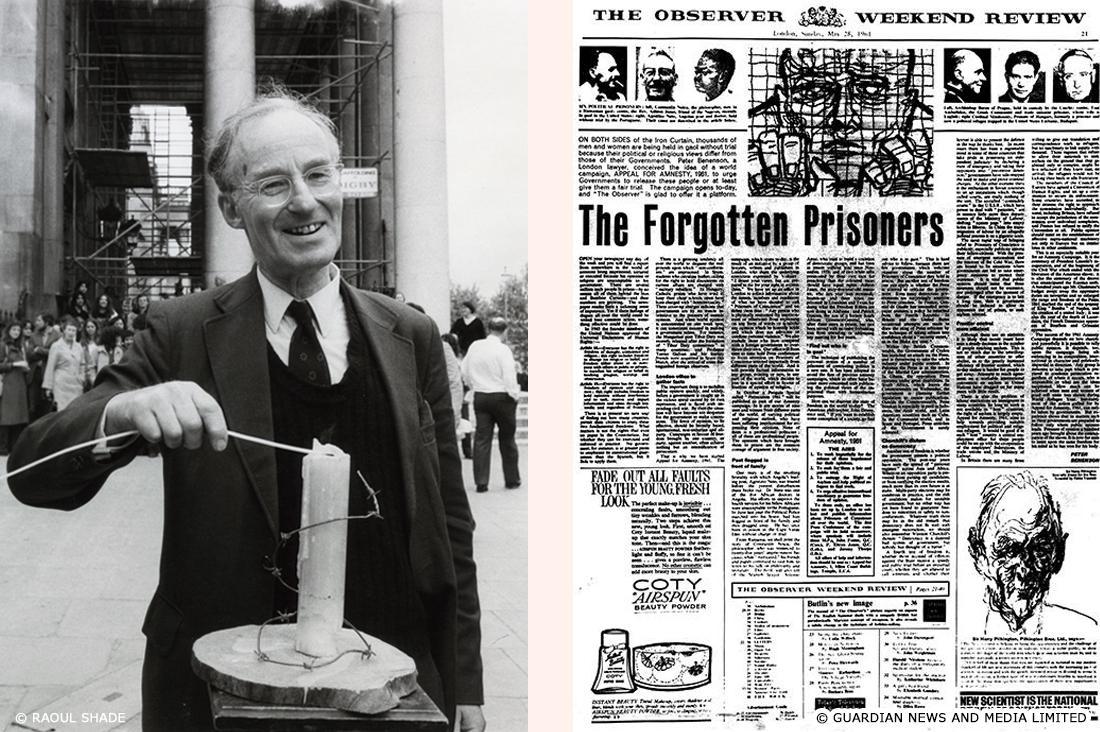 独裁政権下のポルトガルで2人の若者が「自由に乾杯」しただけで逮捕された、という記事を読んで衝撃を受けた英国の弁護士ピーター・べネンソン(写真左) は、1961年5月28日、英国オブザーバー紙に「忘れられた囚人たち」と題された記事を投稿(写真右)し、キャンペーンへの参加を呼びかけた。
