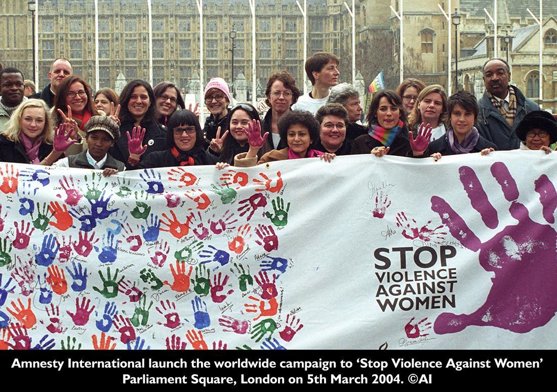 紛争や家庭内での女性に対する暴力を阻止するキャンペーン「Stop Violence Against Women」。