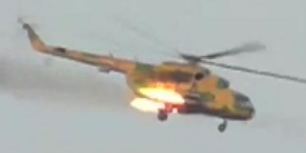 Helicopter seen firing over Taftanaz, north-east of Idlib City, on 3 April 2012(C)private