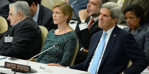 国連総会でATTに署名予定のジョン・ケリー米国務長官 © STAN HONDA/AFP/Getty Images