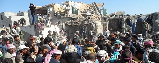 Aftermath of airstrikes that turned 14 houses to rubble near Sana'a international airport in Yemen on 26 March 2015. (C) Zakarya Dahman, courtesy of The Yemen Times.